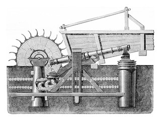 Martinet Styrian driven by a water wheel, vintage engraving.