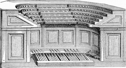 Keyboard layouts of the organ of St. Sulpice, vintage engraving.