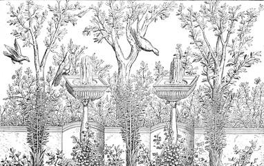Decorative Garden, vintage engraving.