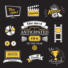 Movie signs set, cinema logos and film labels