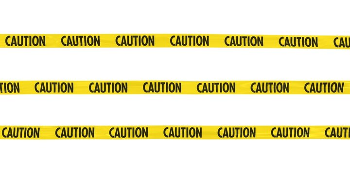 CAUTION Tape Lines Isolated on White