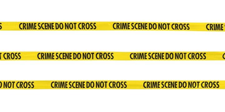 Crime Scene Do Not Cross Tape Lines Isolated on White