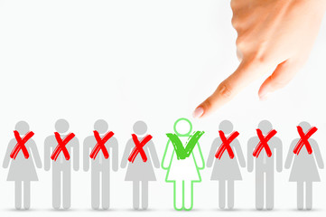 Choose candidate, human resources and employment concept on white background