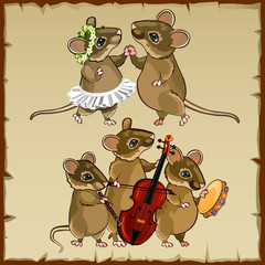 Set of dancing mice and musicians