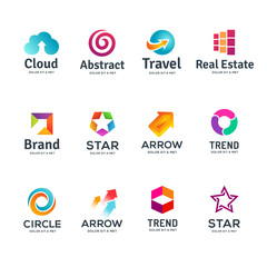Set of abstract business logo icon design template elements