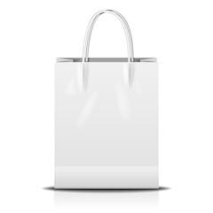 Stock Vector Illustration: white shopping paper bag isolated on white background,Vector illustration