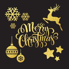 Christmas gold glitter  elements. Vector illustration