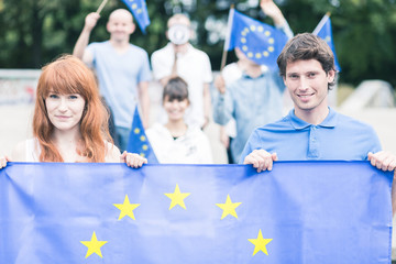People with european union flag