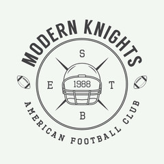 Vintage rugby and american football labels, emblems and logo.
