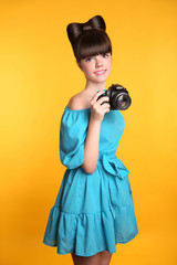 Beautiful happy smiling teen girl taking a photo. Pretty model i