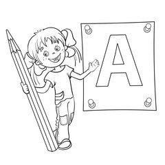 Coloring Page Outline Of a Girl with pencil and large letter