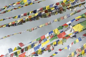 Low angle view of prayer flags at Swayambhunath temple, Kathmandu, Nepal
