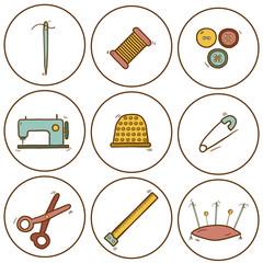 Set of hand drawn needle work icons