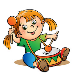 Joyful girl playing the drum isolated on white