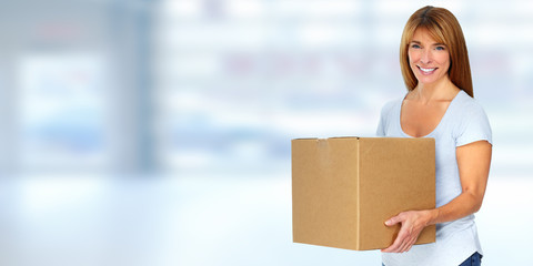 Woman with moving box.