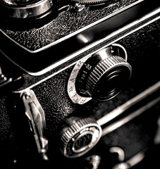 Vintage camera. Detail. Old technology, photography, education and vintage concept.