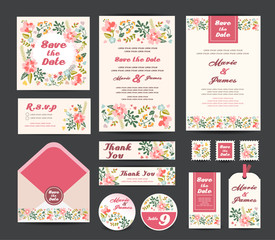 Wedding floral template collection.Wedding invitation, vector