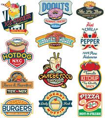 Vector vintage food labels