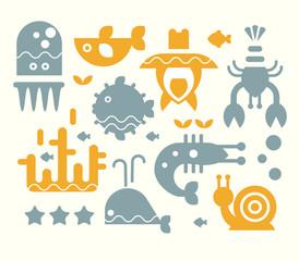 Sea Inhabitants Vector Illustration Set in Flat Style