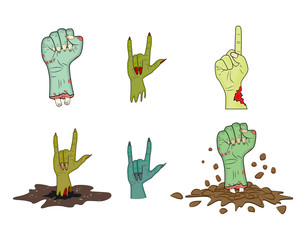 halloween Zombie hand gesture vector set - realistic cartoon isolated illustration. Image of scary monster hand gesture. Picture isolated on white background.