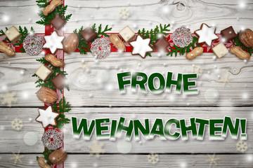 Holzhintergrund mit Weihnachtsdekoration- Frohe Weihnachten!