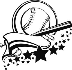 Baseball or Softball encircled in a flowing pennant with a sweep of stars.