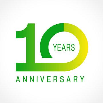10 anniversary classic logo. The plain ordinary logotype of 10th birthday.