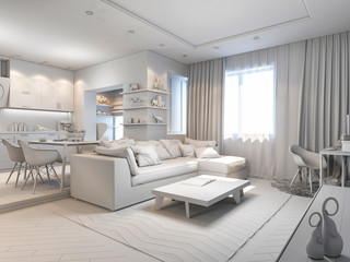 3d render of small apartments without textures in white color
