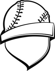 A shield with a banner around it and topped with a baseball or softball.