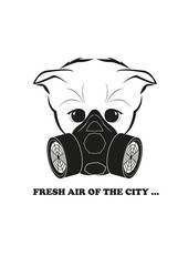 Totono and gas mask. Fresh air of the city