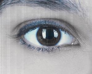 Human eye with integrated binary code