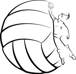 a girl volleyball player in front of stylized volleyball.