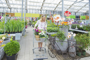 Mature woman shopping in garden centre, Augsburg, Bavaria, Germany