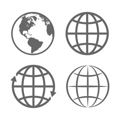 Earth Globe Emblem. Logo Template. Icon Set. Vector