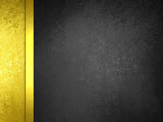 Luxury gold and black background with vintage texture and gold ribbon stripe, elegant luxurious gold sidebar design for website or graphic art projects, formal blank copyspace for adding your own text