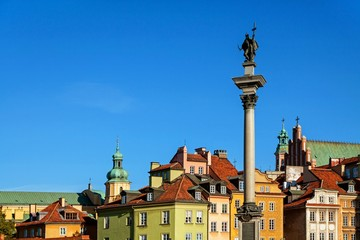 Old town architecture square landmark in warsaw