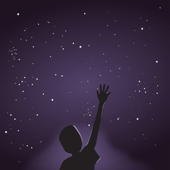 Night Sky, Man Silhouette and Stars - Panorama