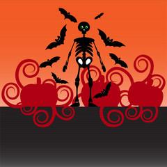 Cover skeleton bats pumpkin