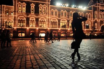 girl night city lights