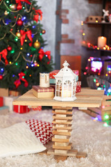 Beautiful Christmas interior with decorated fir tree