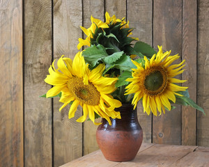 Still life with a bouquet. Sunflowers.