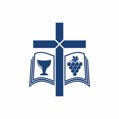 Church logo. Bible, cross, grape