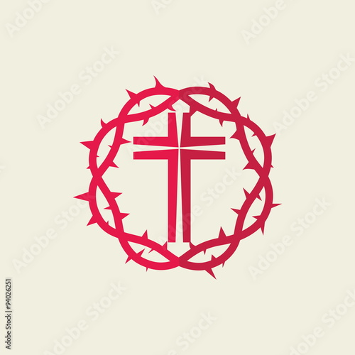 quotchurch logo red crown of thorns crossquot stock image and