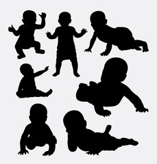 Cute baby action silhouettes. Good use for symbol, logo, web icon, game element, mascot, or any design you want. Easy to use.