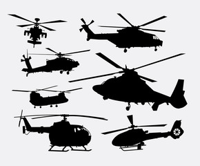 Helicopter transportation silhouettes. Good use for symbol, logo, web icon, game element, mascot, or any design you want. Easy to use.