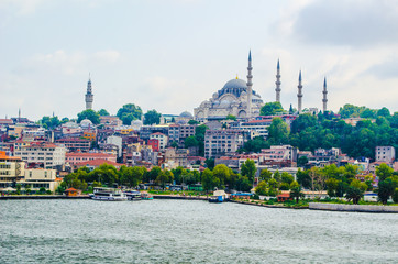 view of the golden horn bay in turkish capital istanbul