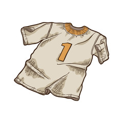 Cartoon t-shirt with number one. Football jersey.