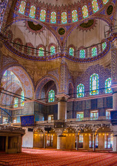 view over the magnificent interior of the blue mosque in istanbul