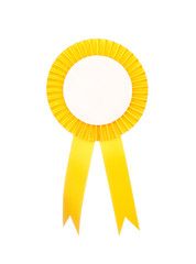 Yellow fabric award ribbon isolated on white background