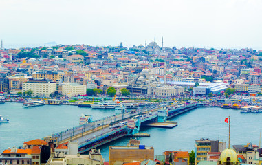 aerial view of golden horn bay in turkish capital istanbul
